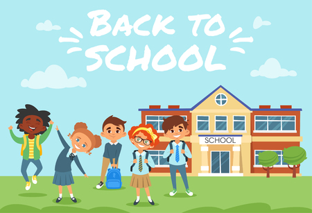 Vector cartoon style Back to school background with  different nationalities students playing outdoor. Иллюстрация