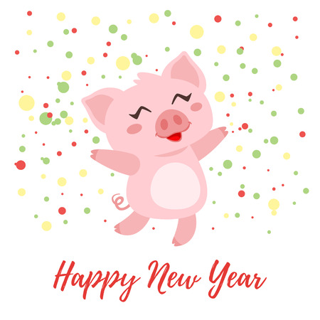 Vector cartoon style illustration of Happy 2019 New year and Christmas greeting card with cute pink pig jumping from happiness. Isolated on white background with snowflakes ornament.