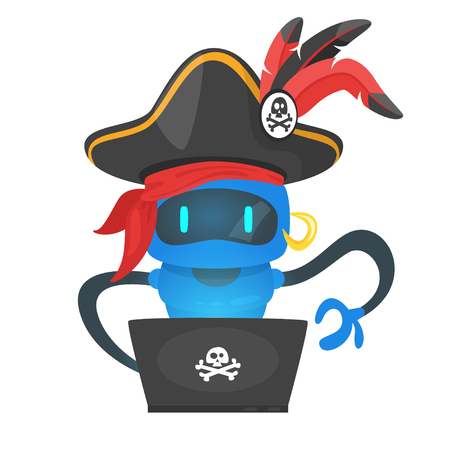 Vector cartoon style illustration of blue cyber pirate robot hacker.