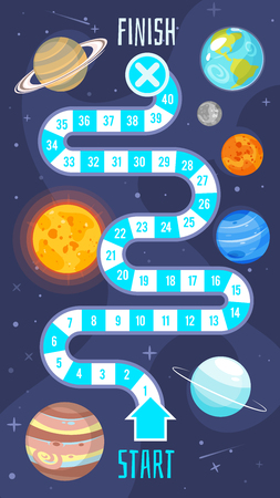 Vector cartoon style illustration of kids space board game template. For print. Horizontal composition 向量圖像
