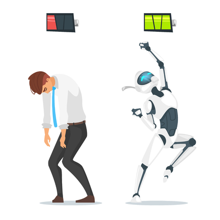 Vector cartoon style concept of human businessman vs robot.  Human has low  battery but robot is full of energy. Modern technology concept.