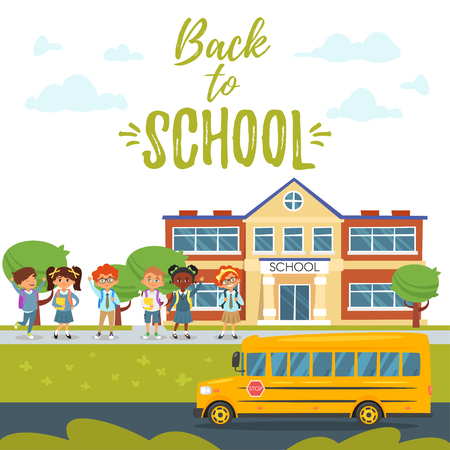 Vector cartoon style Back to school background with educational building, school bus and children of different nationalities going to school. Ilustrace