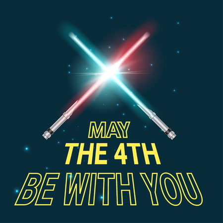 Greeting card vector template for May the 4th be with you text and two sword. Holiday card, dark space background.