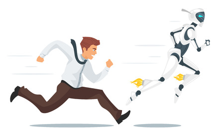 Vector cartoon style concept of human businessman vs robot confrontation running competition. Modern technology concept. Illustration