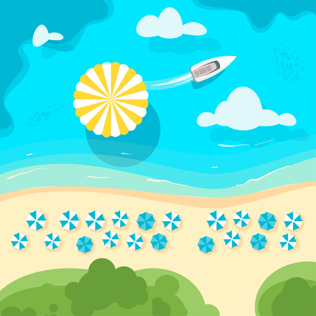 Vector cartoon style background with paradise sea shore with beach umbrella in the azure colored sea. Yacht sailing with parachute hanging mid air. Good sunny day. Top view Illustration