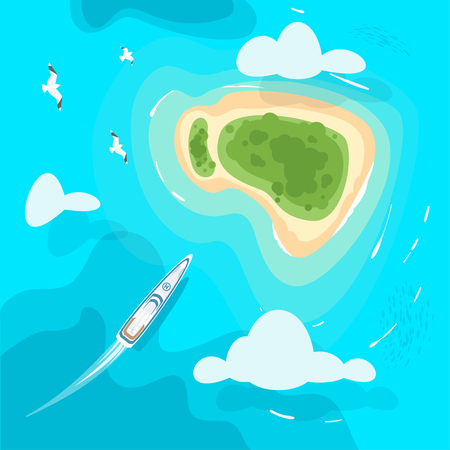 Vector cartoon style background with tropical paradise sea shore island in the azure colored sea. Yacht sailing towards the shore. Good sunny day. Top view.