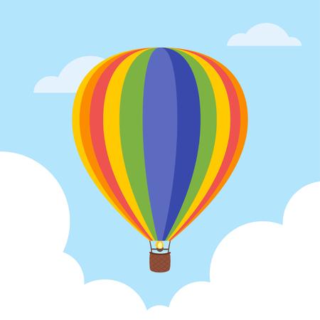 Vector cartoon style illustration of hot air balloon in the sky.