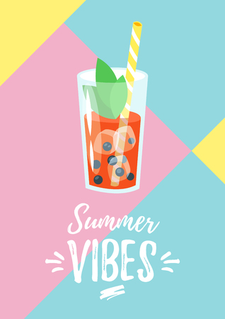 Vector cartoon style summer design for season postcard or poster with fresh cocktail.  Geometrical background. Summer vibes text.