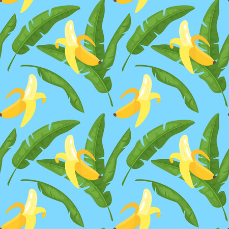 Vector cartoon style seamless pattern with banana and tropical leaves. On blue background. Vettoriali