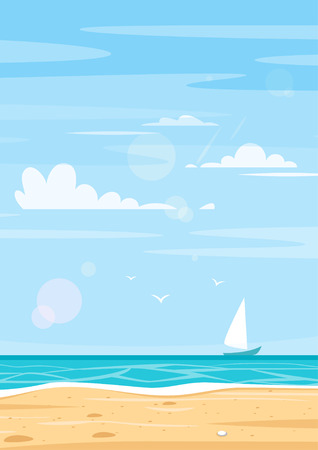 Vector cartoon style background of sea shore. Good sunny day. Vertical composition. Illustration