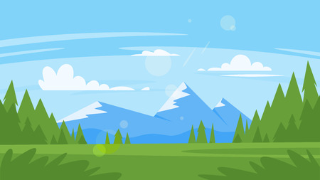 Vector cartoon style background with rocky mountains and forest. Good sunny day. Иллюстрация