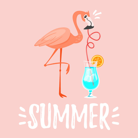 Vector cartoon style summer design for season postcard or poster background with pink flamingo drinking blue cocktail. Vectores