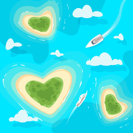 Vector cartoon style background with tropical paradise sea shore heart shaped island in the azure colored sea. Yacht sailing towards the shore. Top view.