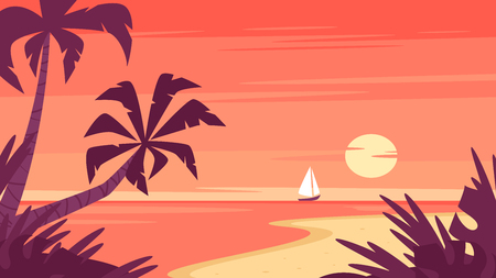 Vector cartoon style background of sea shore with palm trees. Sunrise and a ship far away on the horizon.