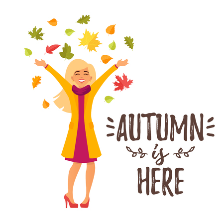 Vector cartoon style autumn design for season postcard or poster background with happy girl character tossing autumn colorful leaves in the air. White background.