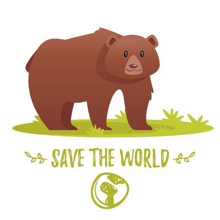 Vector cartoon style illustration of World Environment Day greeting card template or poster design. Bear character standing in the meadow. Save the world text. Illustration