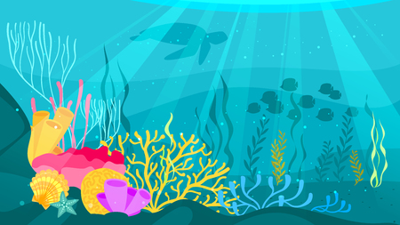 Vector cartoon style underwater background with sea flora and fauna. Coral reef, sea plants and fishes silhouettes. Çizim