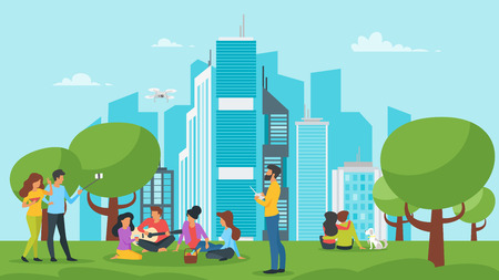 Vector cartoon style illustration of park with city at the background. Urban skyline with modern skyscrapers. Outdoor activity: people resting and making picnic. Modern lifestyle. Ilustração