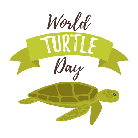 Vector cartoon style illustration of World turtle Day greeting card template.