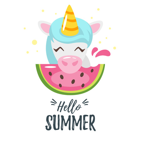 Vector cartoon style autumn design for season postcard or poster background with cute unicorn eating watermelon. White background.