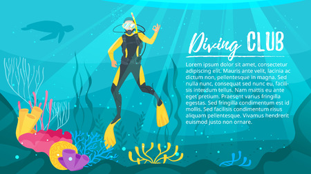 Vector cartoon style underwater background with sea flora and fauna. Coral reef, sea plants and fishes silhouettes. Scuba Diver explores the bottom of the sea.