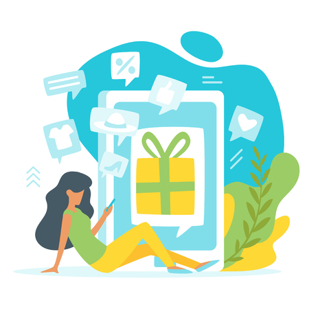 Vector flat style illustration of a sitting woman making online shopping in front of a huge cell phone. Present icon on the screen of smartphone. Minimalism design with exaggerated objects.