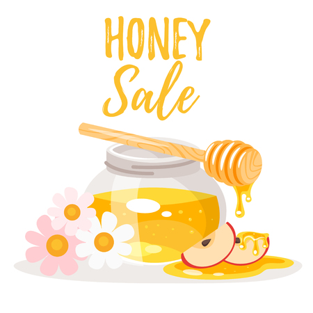 Vector cartoon style illustration of Honey Sale banner with glass honey jar, flowers and honey dipper. Illustration