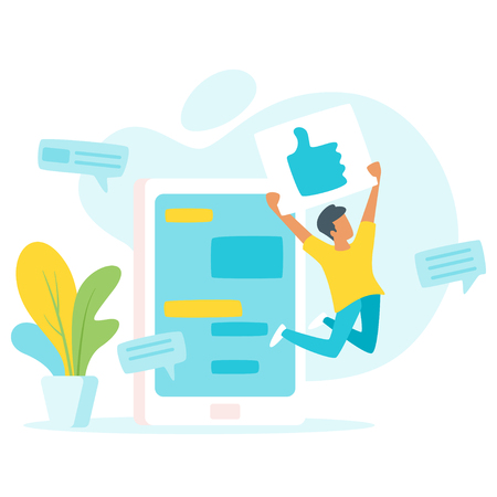 Vector flat style illustration of a man jumping for joy and holding a thumbs up sign (like in social network), in front of huge cell phone with chat windows. Minimalism design with exaggerated objects