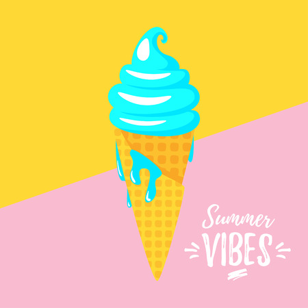 Vector cartoon style summer design for season postcard or poster background with waffle cone ice cream. Yellow pink duotone background.