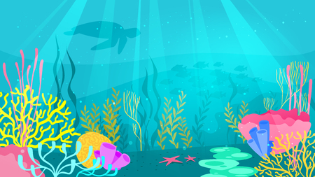 Vector cartoon style underwater background with sea flora and fauna. Coral reef, sea plants and fishes silhouettes. Illustration