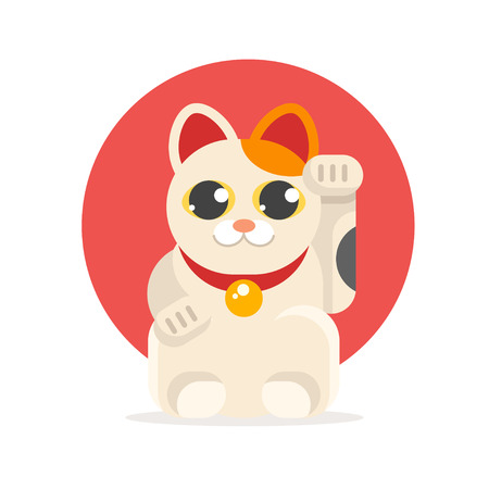 Vector flat style illustration of Japanese Lucky Cat Maneki Neko. Icon for web. Isolated on white background with yellow circle.