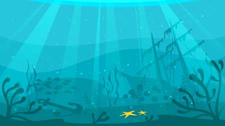 Vector cartoon style underwater background with sea flora and fauna. Coral reef, sea plants and fishes silhouettes. Ship wreckage at the bottom of the ocean.