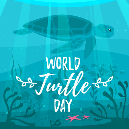Vector cartoon style illustration of World turtle Day greeting card template. Underwater background.