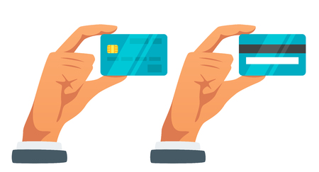 Vector flat style illustration of businessman hand holding credit card. Back and front view. Isolated on white background. Icon for web. Vektorové ilustrace