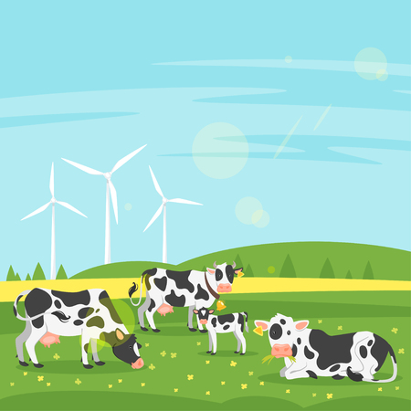 Vector cartoon style illustration of cows graze in a field with eco windmill. Good sunny day. Nature background.