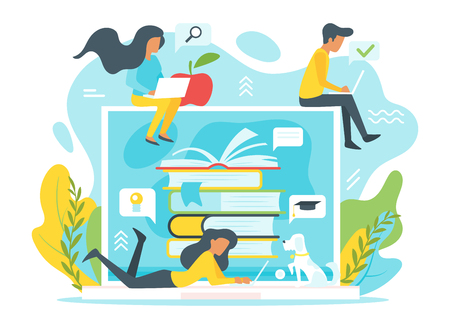 Vector flat style illustration of a group of people studying online in front of a huge laptop. Minimalism design with exaggerated objects. Elearning concept.