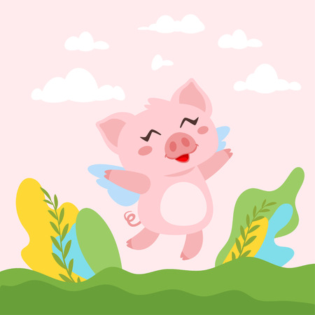 Vector cartoon style illustration of cute pink flying pig with wings. Background with green meadow and plants.