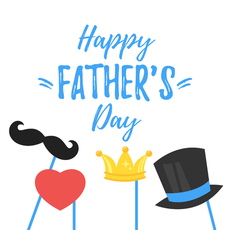 Vector cartoon style illustration Of Fathers Day greeting card template with holiday symbols: mustache, cylinder hat and golden crown.