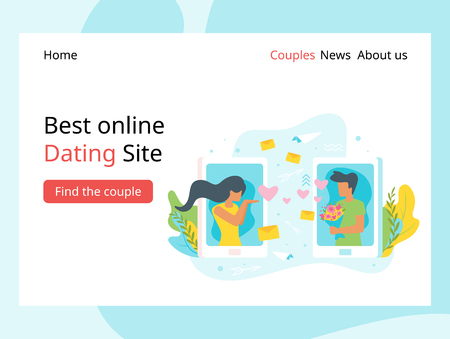 Vector flat style illustration of a man and woman having online relationship. Minimalism design with exaggerated objects. Characters in front of a huge cellphone. Dating agency landing page template.