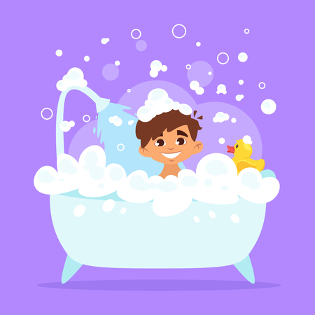 Vector cartoon style illustration of cute Caucasian kid boy taking a bath full of soap foam. Yellow rubber duck in bathtub.