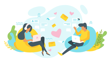 Vector flat style illustration of a man and woman having online relationship. Characters sitting in front of each other. Minimalism design with exaggerated objects. Online dating concept. 일러스트
