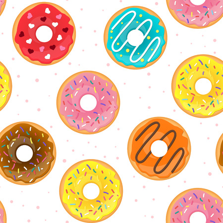 Vector cartoon style seamless pattern with tasty doughnuts. White background.