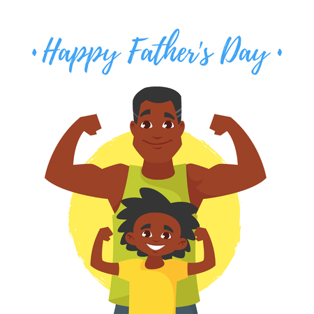 Vector cartoon style illustration Of Fathers Day greeting card template with athlete Afro American father and son standing in front of it. Vettoriali