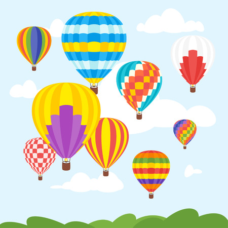 Vector cartoon style illustration of hot air balloons in the sky.