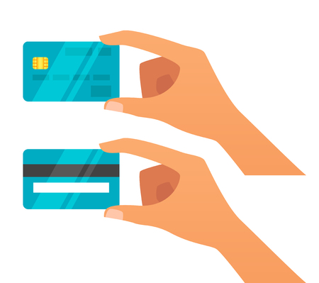 Vector flat style illustration of hand holding credit card. Back and front view. Isolated on white background. Icon for web.