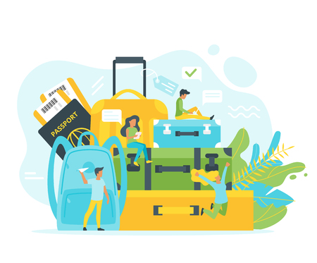 Vector flat style illustration of travel suitcases and backpack with people in different poses. Minimalism design with exaggerated objects. Floral elements at background. Tourism concept.