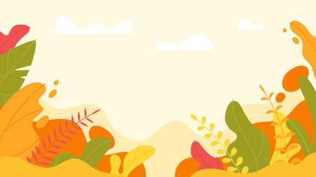 Vector flat style background with simple abstract leaves. Minimalism design. Floral autumn background.
