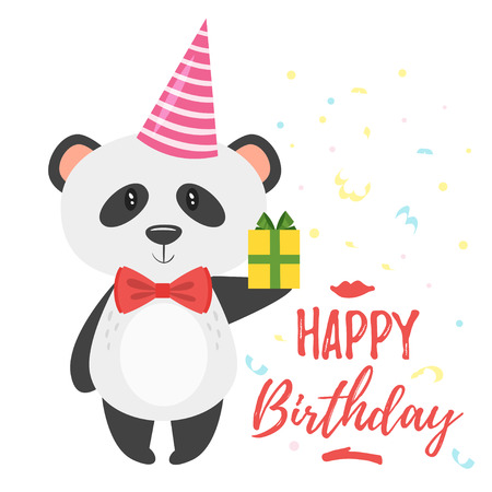 Vector cartoon style illustration of Happy Birthday greeting card template with panda in festive cone hat holding little present. White background with confetti.
