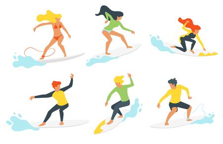 波とシルエットの男女サーファーのベクトルフラットスタイルセット。ミニマリズムデザイン。白い背景に隔離されています。