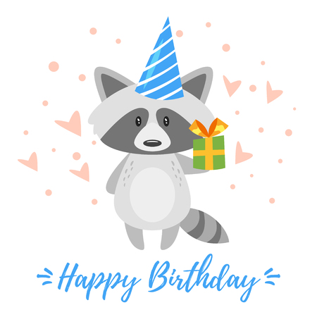 Vector cartoon style illustration of Happy Birthday greeting card template with racoon in festive cone hat holding little present. White background.